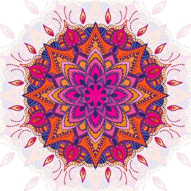 Mooi vector gekleurd mandalaornament Uitstekende decoratieve elementen Hand Getrokken Achtergrond Islam, Indisch Arabisch, stock illustratie
