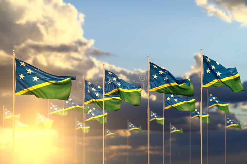 Mooi vele die Solomon Islands-vlaggen op zonsondergang in rij met selectieve nadruk en plaats voor tekst wordt geplaatst - om het stock illustratie