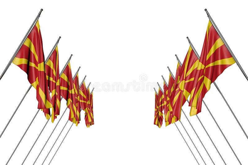 Mooi vele vlaggen van Macedonië op diagonale die polen van linkerzijde hangen en rechterkanten die op wit worden geïsoleerd - om  royalty-vrije illustratie