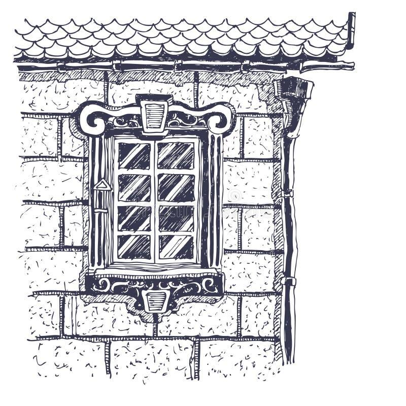 Mooi venster op de bakstenen muur dichtbij rand van ho vector illustratie