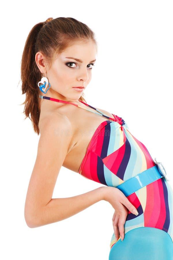 Mooi verleidelijk meisje in zwempak royalty-vrije stock foto