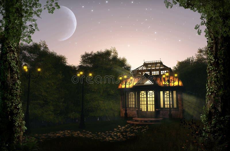 Mooi verlicht paviljoen bij nacht in weelderig park royalty-vrije stock fotografie