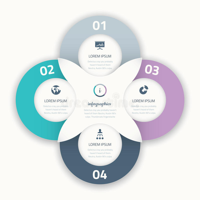 Mooi vier infographic cirkel bedrijfsoptieelement vector illustratie
