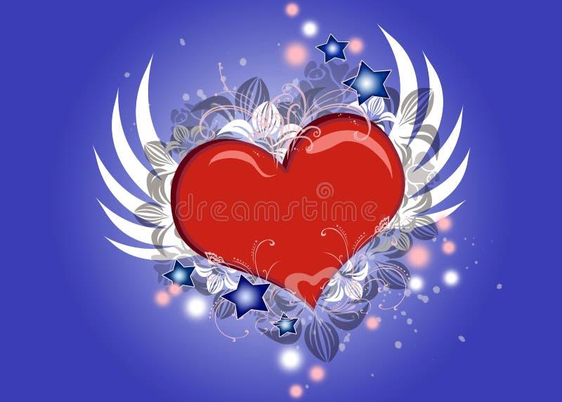 Mooi vliegend hart vector illustratie
