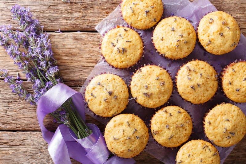 Mooi voedseldessert: de muffins met lavendel bloeit close-up stock afbeelding
