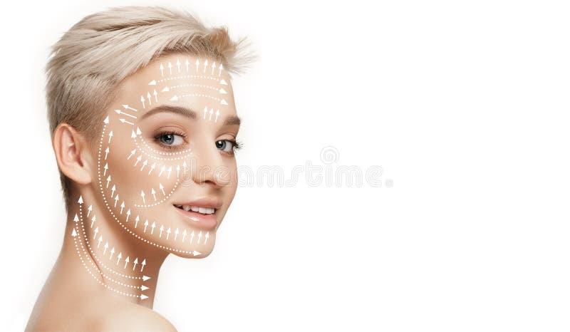 Mooi vrouwelijk gezicht, concept skincare en het opheffen stock fotografie