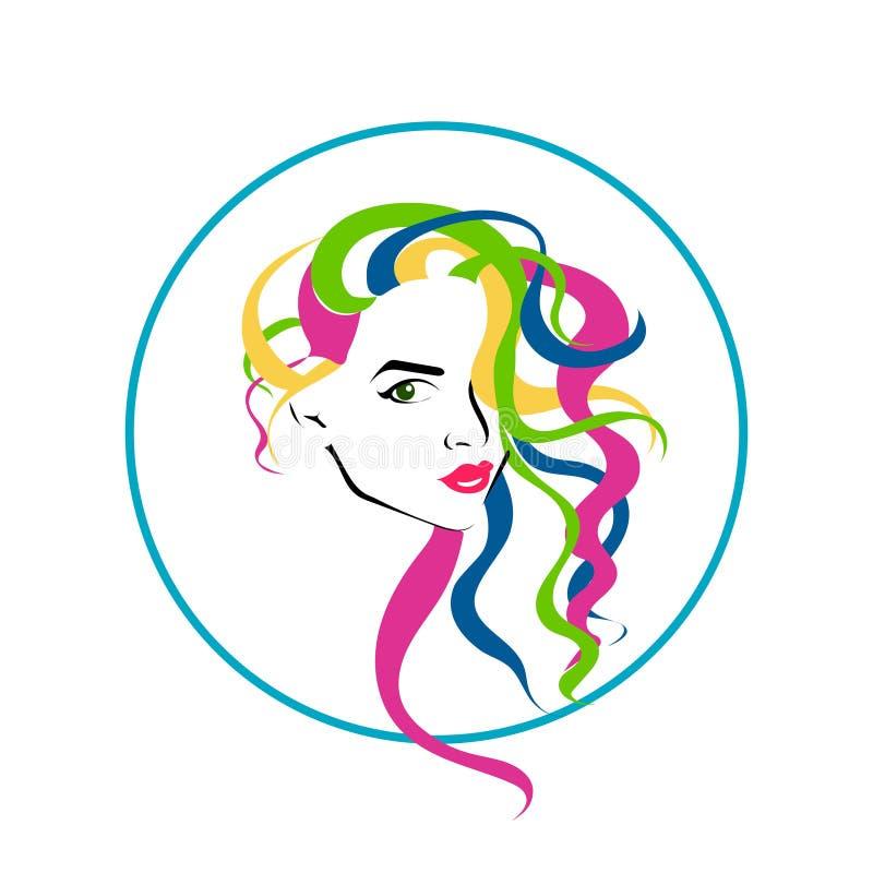 Mooi vrouwelijk gezicht met kleurrijk lang kapsel Schoonheidspictogram royalty-vrije illustratie