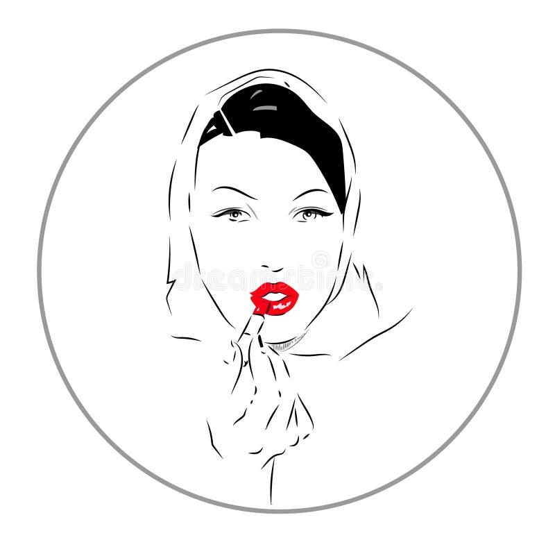 Mooi vrouwelijk gezicht Schoonheids vectorpictogram stock illustratie