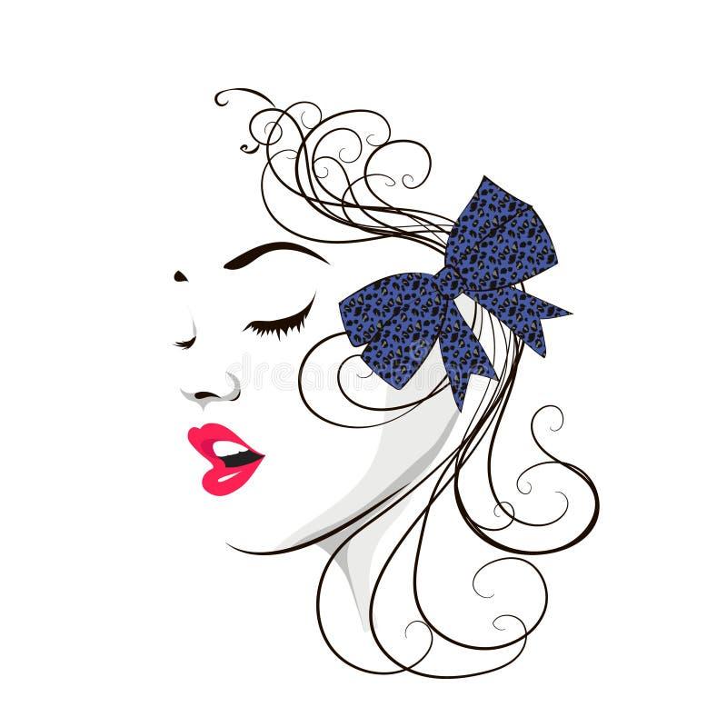 Mooi vrouwelijk gezicht Schoonheidspictogram vector illustratie