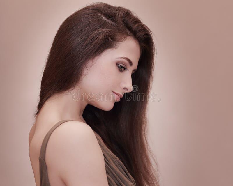 Mooi vrouwelijk gezichtsprofiel stock foto