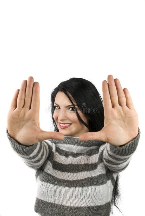 Mooi vrouwen frame gezicht stock foto's