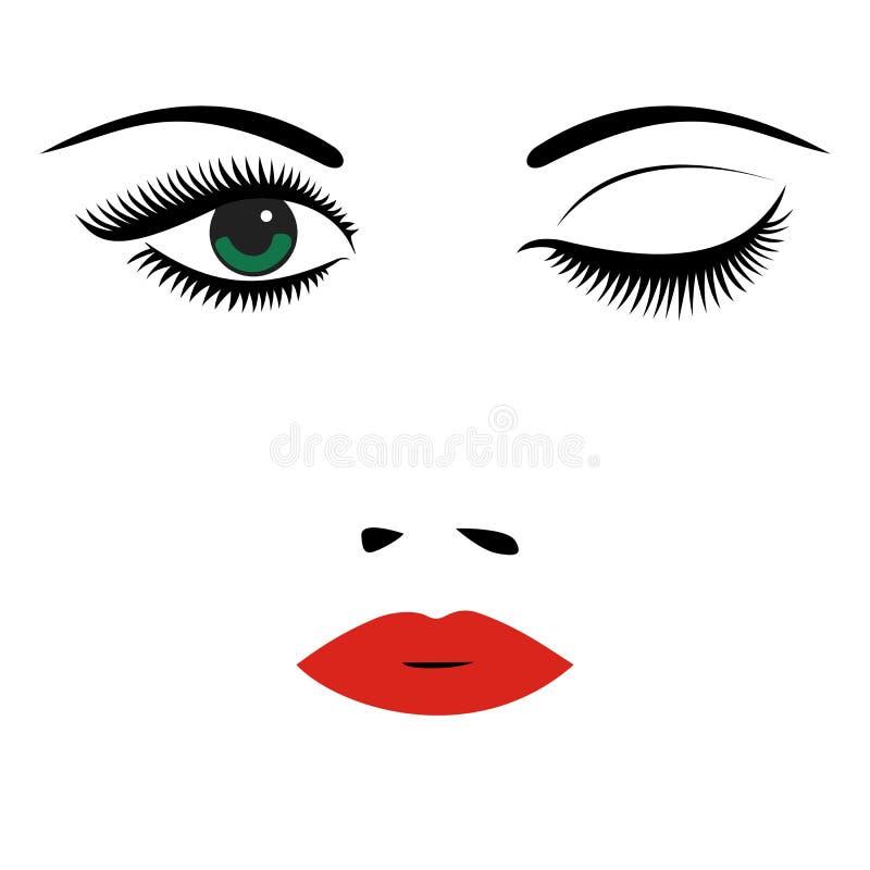 Mooi vrouwen` s portret Snak zwepen, rode lippen, ogen, neus V vector illustratie