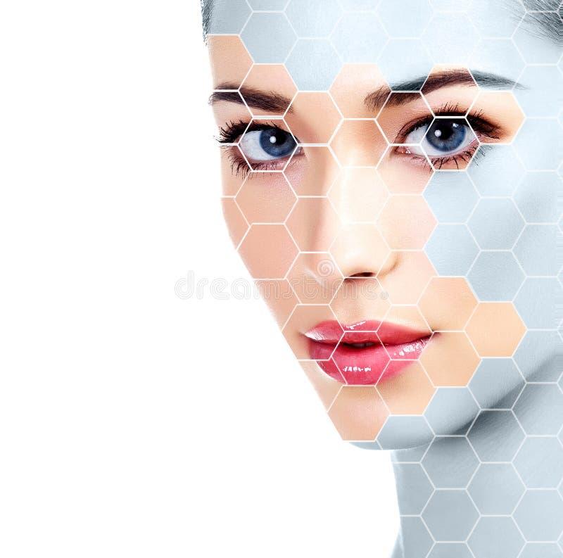 Mooi vrouwengezicht, het concept van de huidbehandeling royalty-vrije stock foto