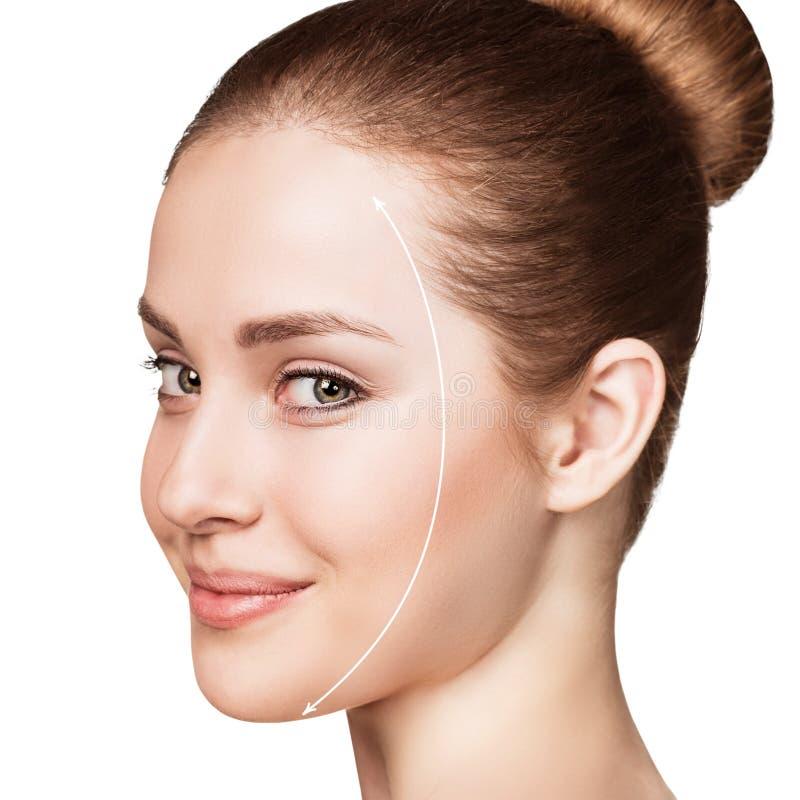 Mooi vrouwengezicht met correctielijn stock foto's
