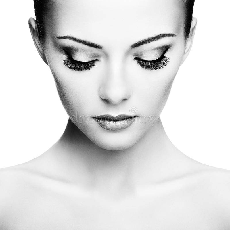 Mooi vrouwengezicht Perfecte Make-up stock afbeelding