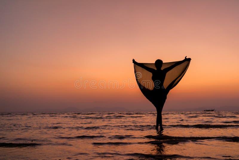 mooi vrouwenmeisje op strand met pareosjaal stock foto