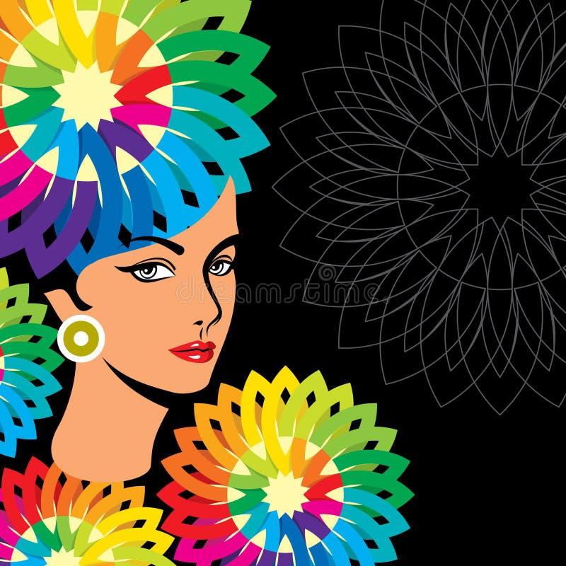 Mooi vrouwensilhouet in bloemenpatroon vector illustratie