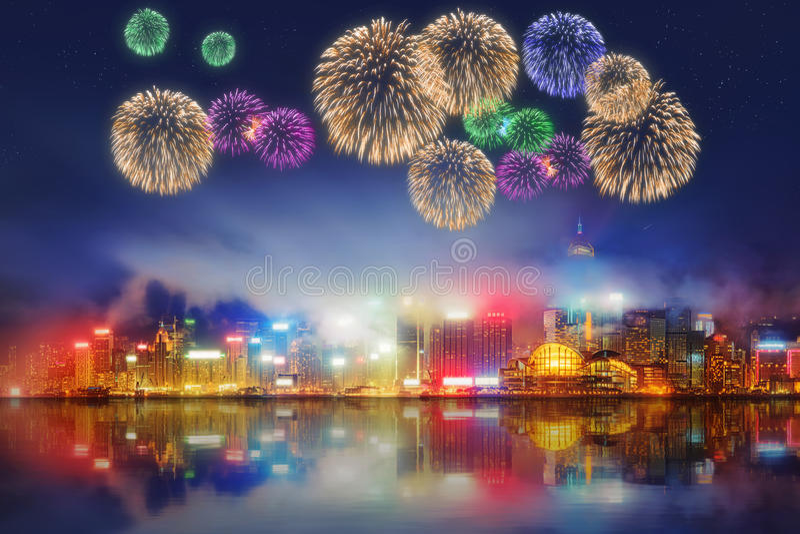 Mooi vuurwerk in Hong Kong en Financieel district royalty-vrije stock fotografie