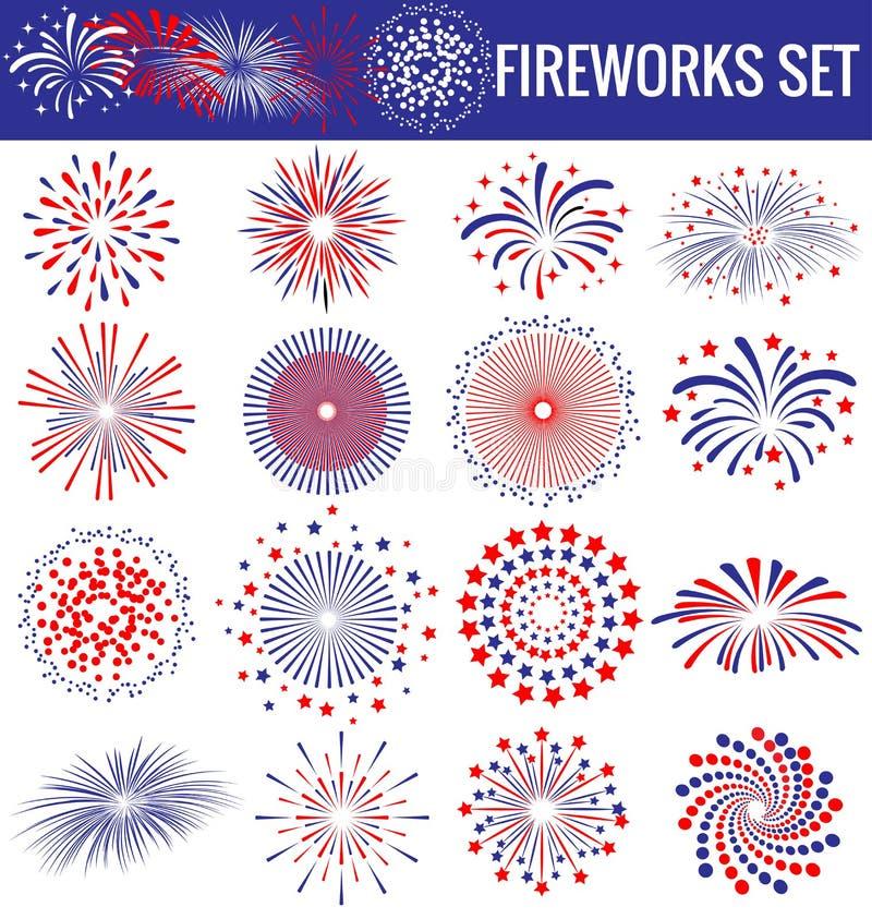 Mooi Vuurwerk voor Onafhankelijkheid Dag de V.S. vector illustratie