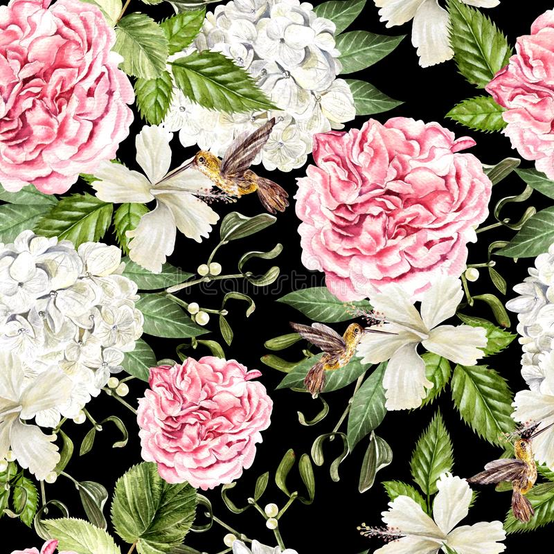 Mooi waterverf naadloos patroon met bloemen van hudrangea, hibiscus en pioen, kolibrie royalty-vrije stock afbeelding