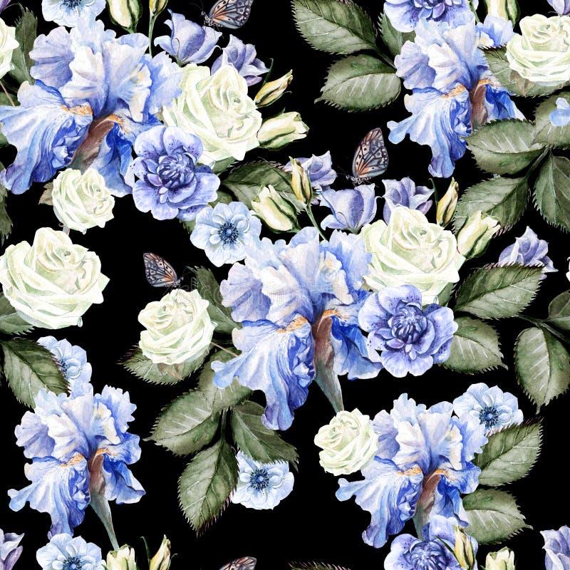 Mooi waterverfpatroon met rozen, anemoonbloemen royalty-vrije illustratie