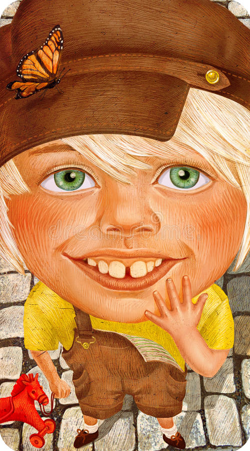 Mooi weinig jongen in retro klerenportret royalty-vrije illustratie
