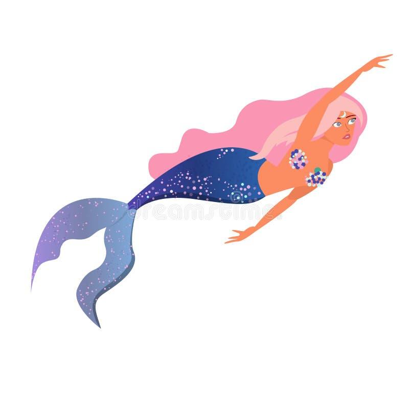 Mooi weinig meermin met roze haar en blauwe staart Sirene Overzees Thema Geïsoleerdj op witte achtergrond Vector stock illustratie