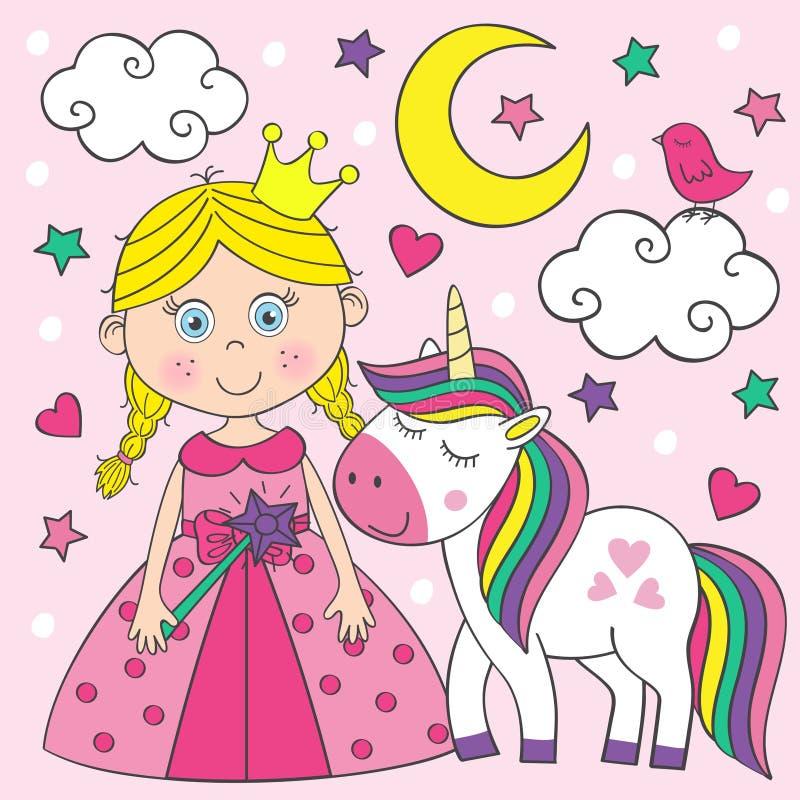 Mooi weinig prinses met eenhoorn stock illustratie