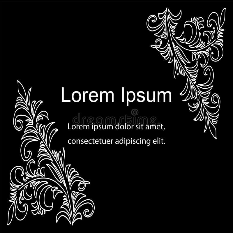 Mooi Wit Bloemenpatroon op Zwarte Achtergrond Uitstekende stijl Malplaatje voor Visitekaartjes, Etiketten, Vliegers, Banners, Ken royalty-vrije illustratie