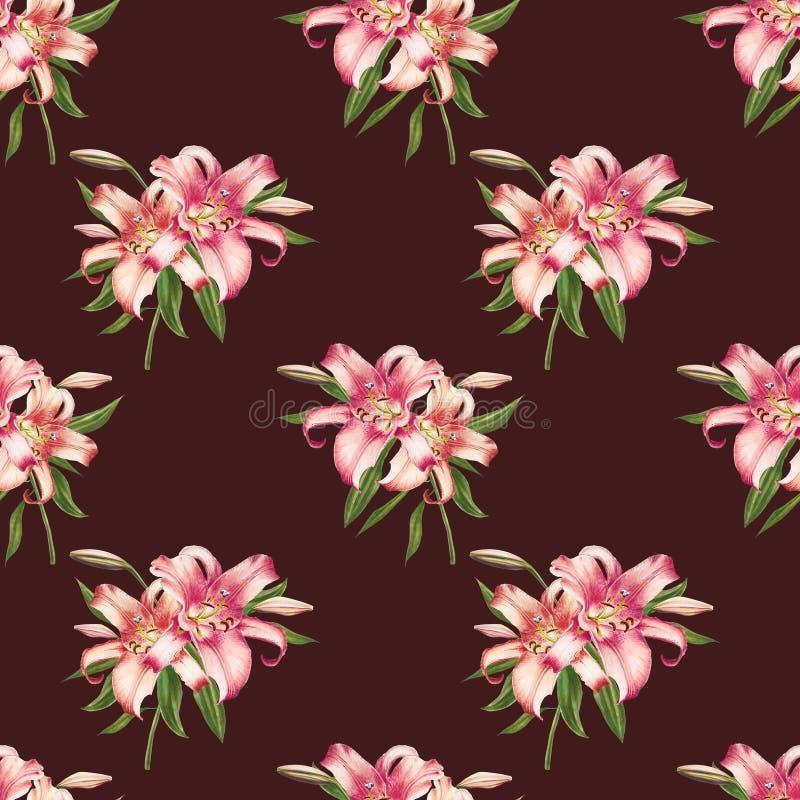 Mooi wit en roze lelie naadloos patroon Boeket van bloemen Bloemendruk Tellerstekening vector illustratie