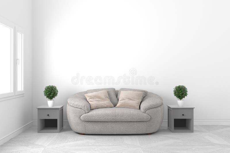 Mooi wit leeg ruimte-levende ruimte binnenlands ontwerp - met bank en installaties en vensters op lege witte muurachtergrond - stock illustratie