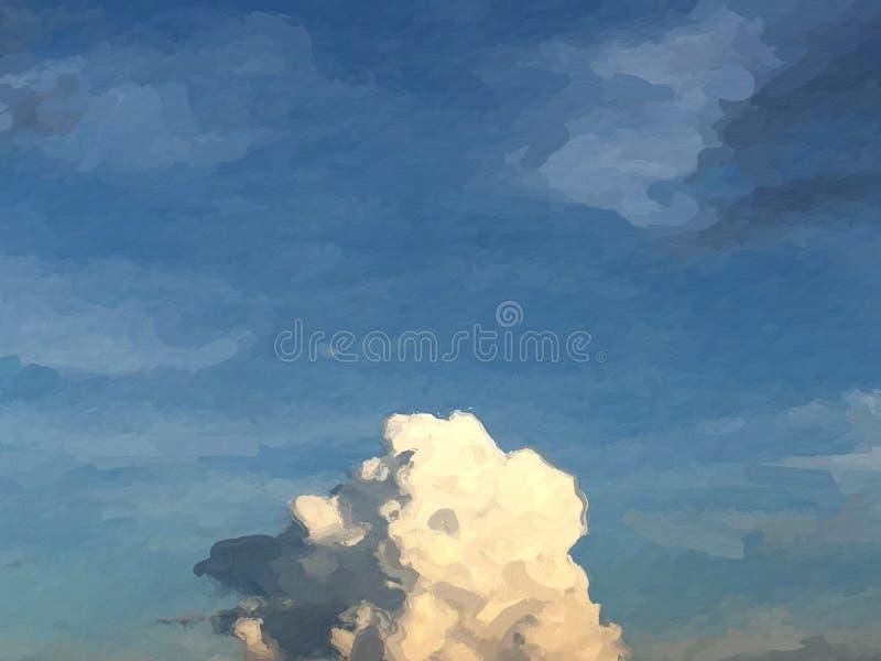 Mooi wolkenpatroon op de blauwe schaduw van de hemelkleur met sinaasappel royalty-vrije illustratie