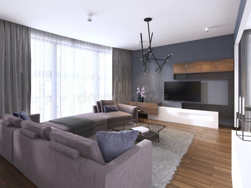 Mooi woonkamerbinnenland met hardhoutvloeren en de grote violette kleur van de hoekbank in nieuw luxehuis Eigentijdse stijl royalty-vrije illustratie