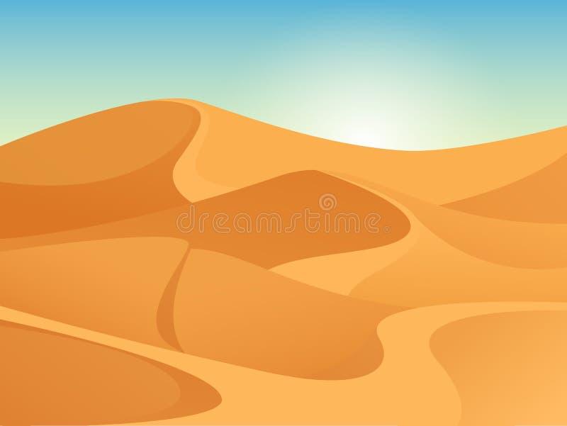 Mooi zanderig landschap van de woestijn van de Sahara Vectorachtergrond met zonsopgang, gele zandduinen en blauwe hemel stock illustratie