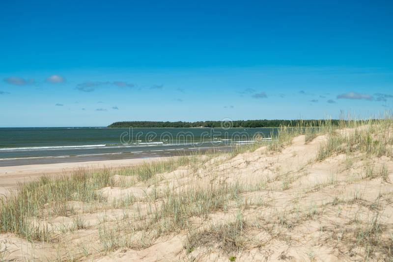 Mooi zandig strand Yyteri bij de zomer, in Pori, Finland royalty-vrije stock foto