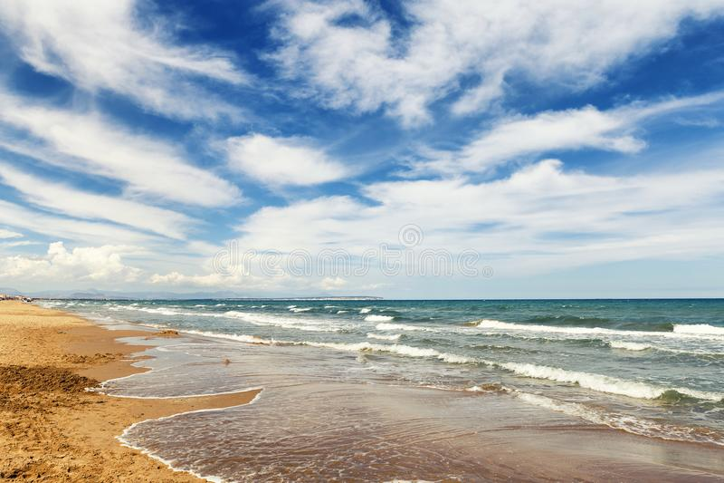 Mooi Zeegezicht Strand in Zuid-Carolina Amerika Alicante, Spanje royalty-vrije stock foto's