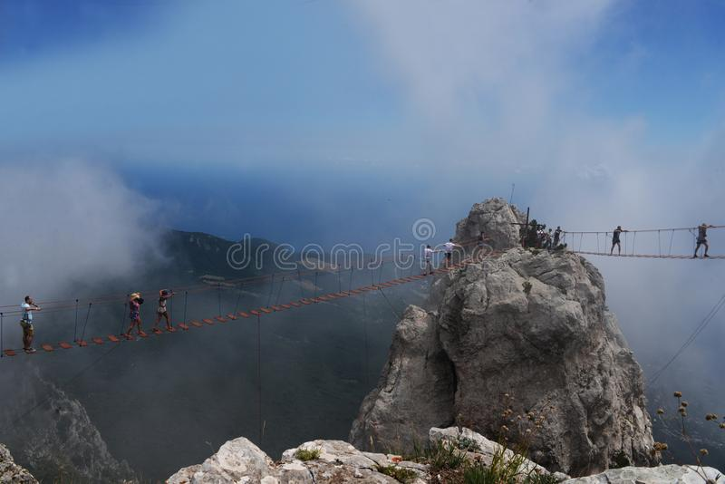 Mooi zichtbaar landschap op de bergen van ai-Petri in yalta stock afbeelding