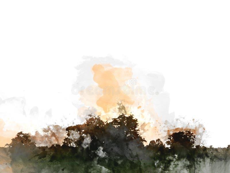 Mooi Zonsondergang, zonlicht en de verf van de boomwaterverf stock illustratie