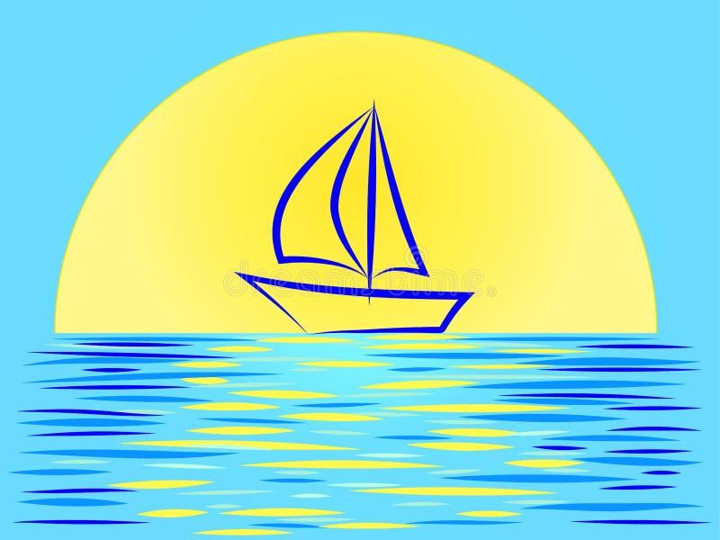 Mooi zonsonderganglandschap met een zeilboot op de achtergrond van een reusachtige zon vector illustratie