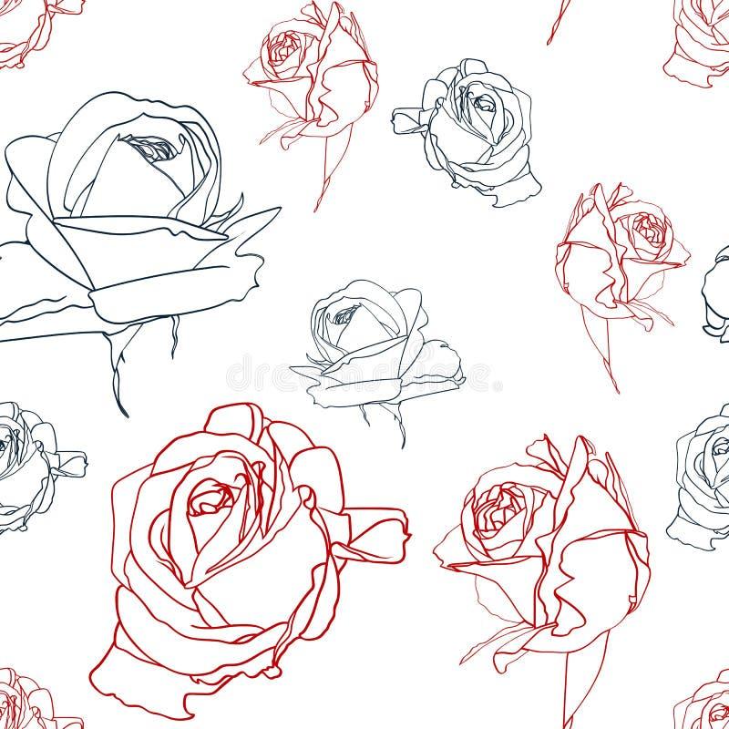 Mooi zwart en rood naadloos patroon met rozen Hand-drawn contourlijnen de kaart van de ontwerpgroet en uitnodiging van de verjaar vector illustratie
