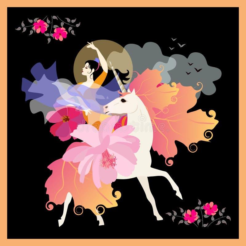 Mooi zwart-haired meisje met ventilator in vorm van bloem en sjaal in vorm van vliegende vogel, galop op eenhoorn royalty-vrije illustratie