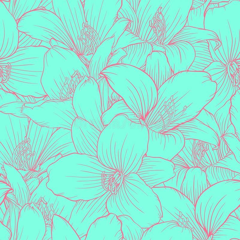 Mooi zwart-wit, blauw en roze naadloos patroon met lelies Hand-drawn contourlijnen royalty-vrije illustratie