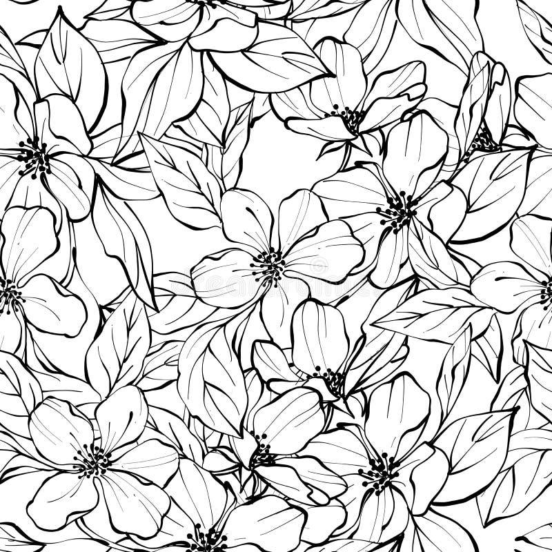 Mooi zwart-wit naadloos patroon met bloemen Zwart-witte achtergrond vector illustratie