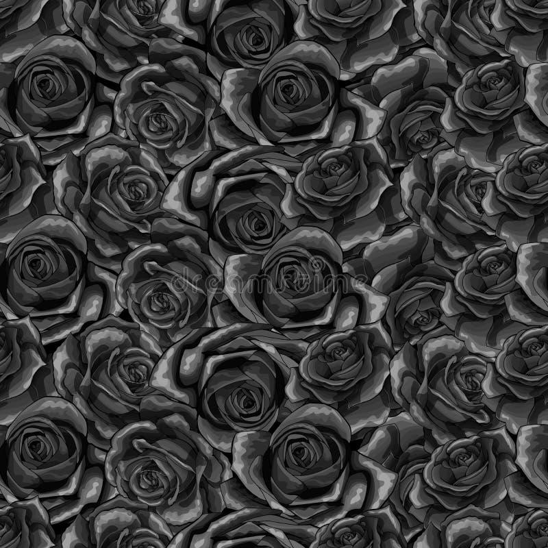 Mooi zwart-wit zwart-wit naadloos patroon in rozen met contouren vector illustratie