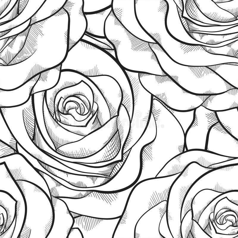 Mooi zwart-wit naadloos patroon in rozen met contouren royalty-vrije illustratie