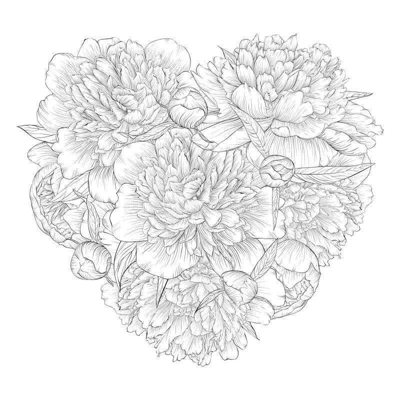 Mooi zwart-wit zwart-wit die hart door bloemenpioen wordt verfraaid Ik houd van u royalty-vrije illustratie