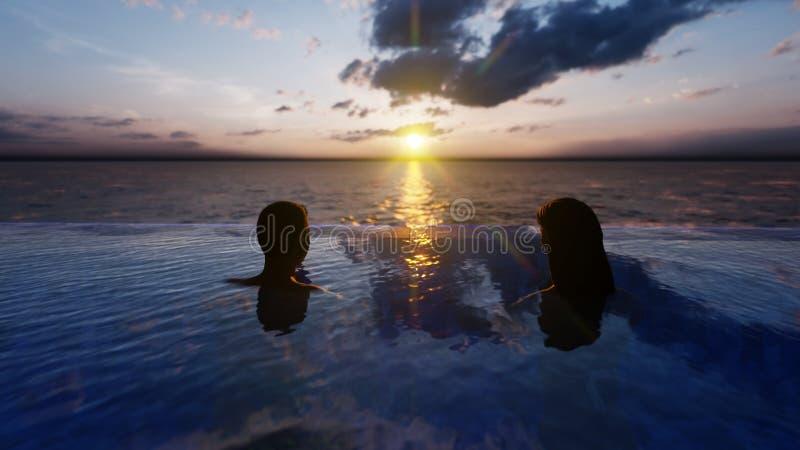 Mooi zwembad met de badende mens en vrouw bij zonsondergang, op een verloren tropisch eiland het 3d teruggeven vector illustratie