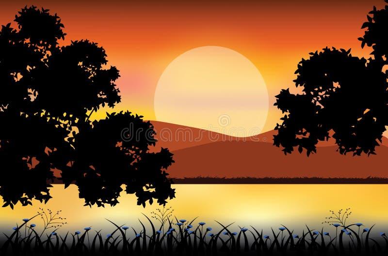 Mooie aard bij zonsondergang, Vectorillustraties vector illustratie