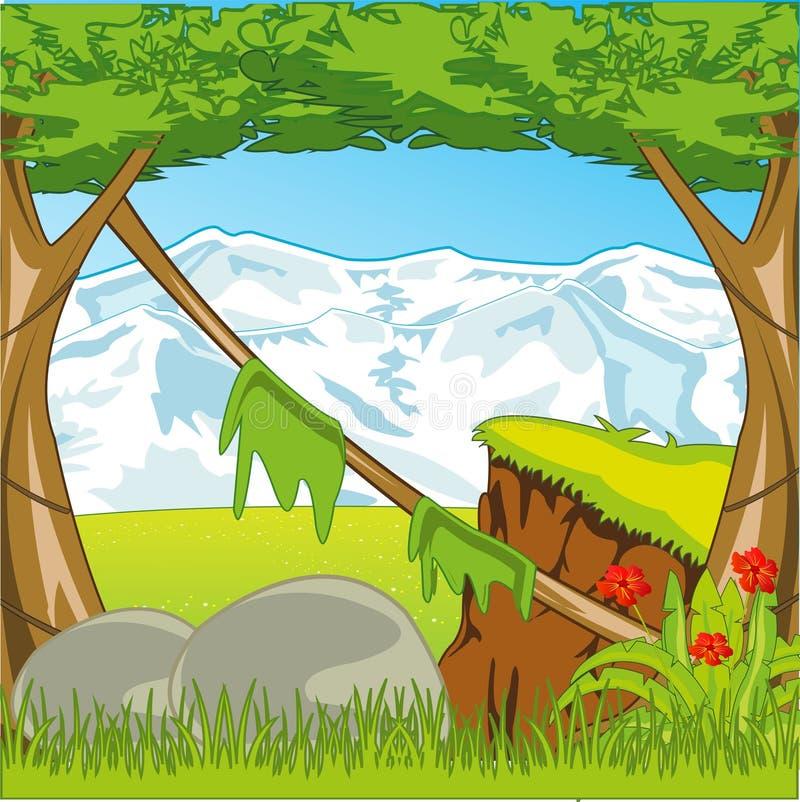 Mooie aard met tropische hout en sneeuwberg stock illustratie