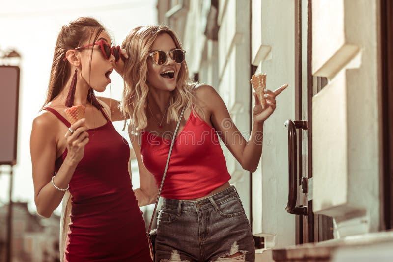 Mooie aardig-een beroep doet overweldigende charmante arresterende betoverende dames die venster het winkelen doen stock fotografie